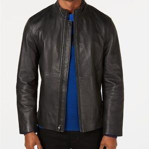 Alfani Mens Full-Zip Leather Jacket